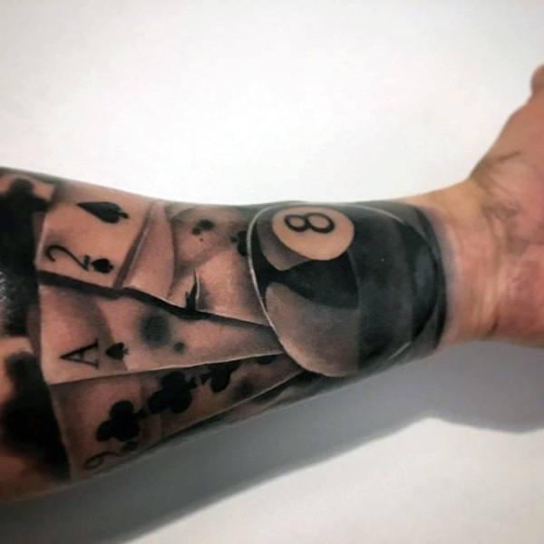 8 ball hand tattoo