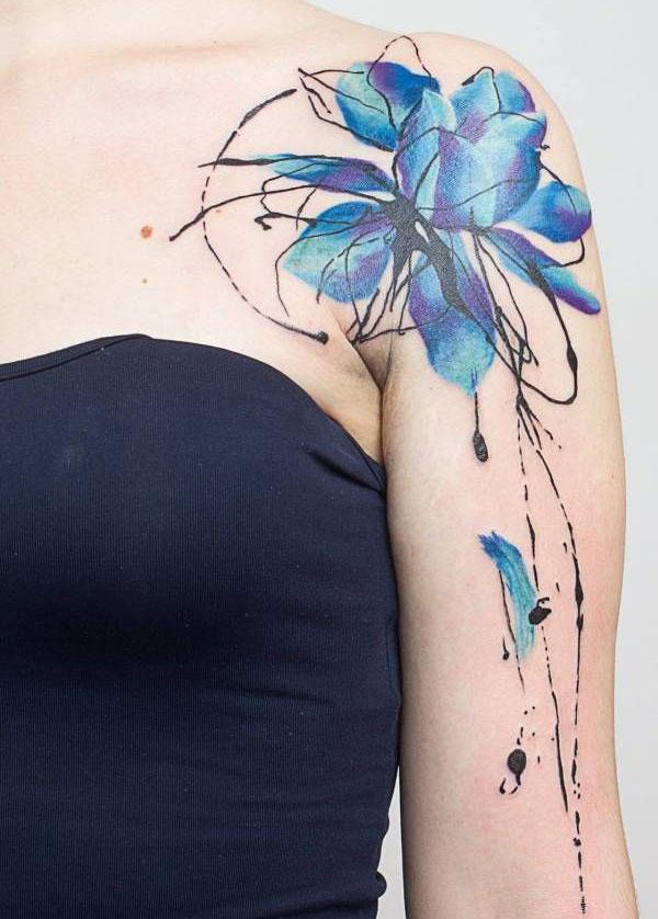 Blue Lotus Flower Tattoo Design