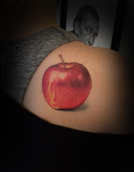 Realistic Apple Tattoo shoulder