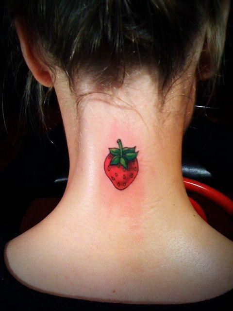 Strawberry tattoo neck