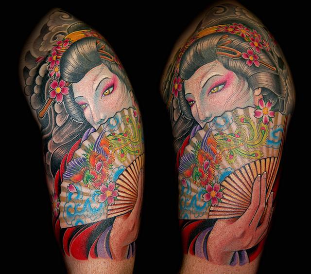 Stylish color geisha tattoo design