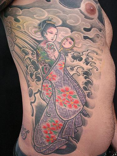 Traditional Japanese geisha tattoo design