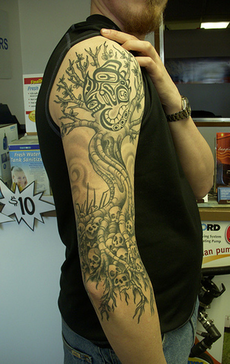 Tree of life tattoo with skull and native designs