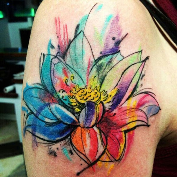 Watercolor Lotus Flower Tattoo colored