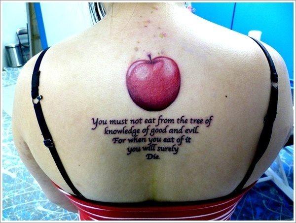 biblical apple tattoo message