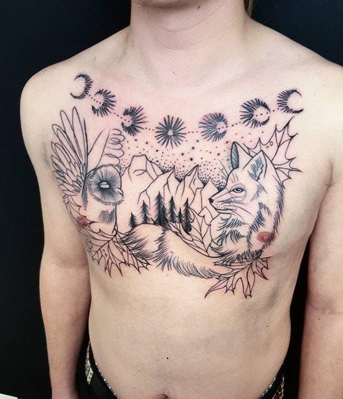 black and white fox tattoo design