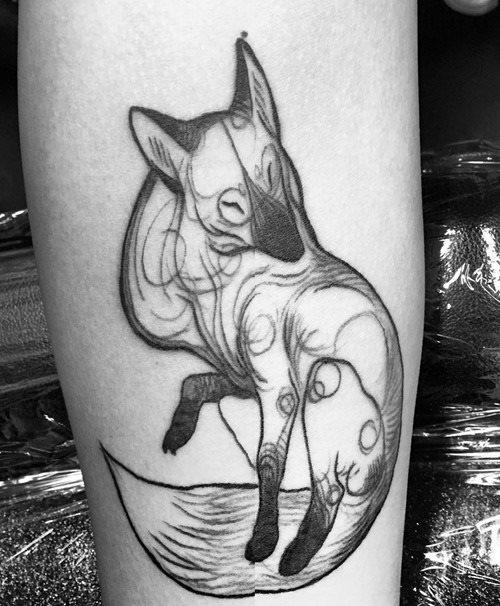 black and white fox tattoo