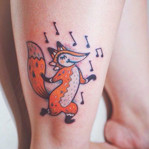 Cartoon Fox Tattoo