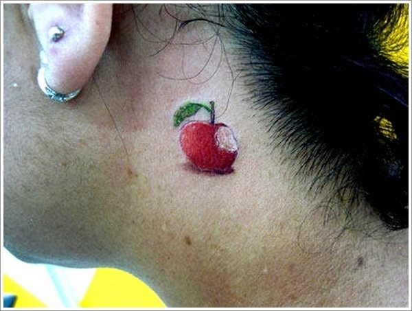 eaten apple tattoo bite