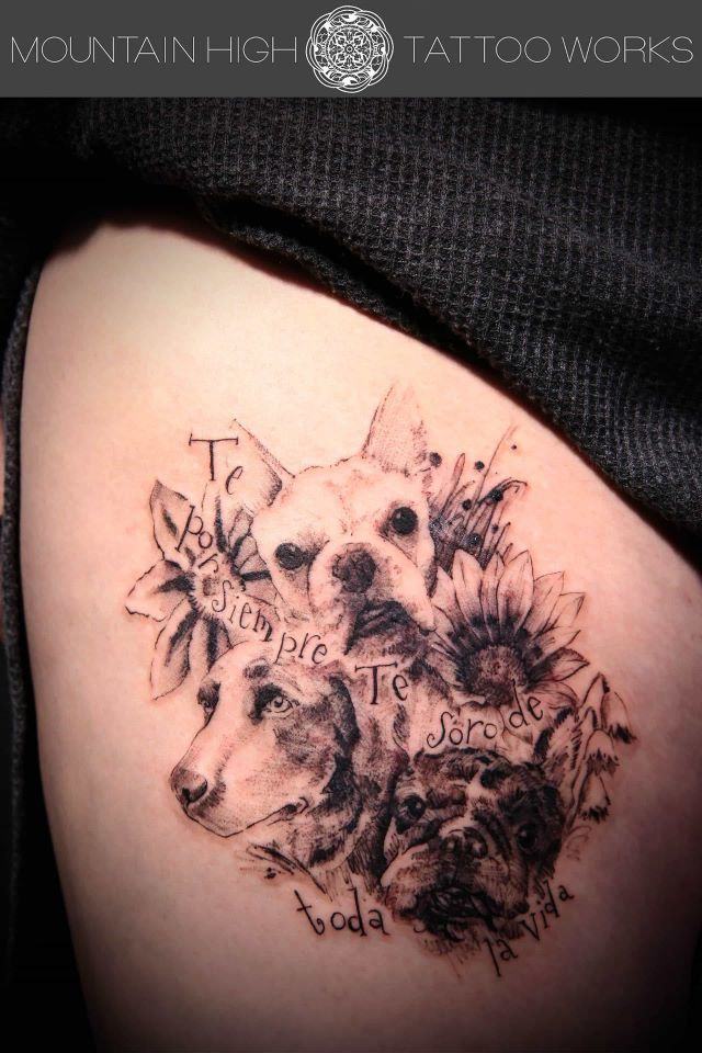 flower and dog tattoo