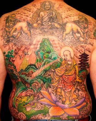 full back tattoo lotus flower and dalay