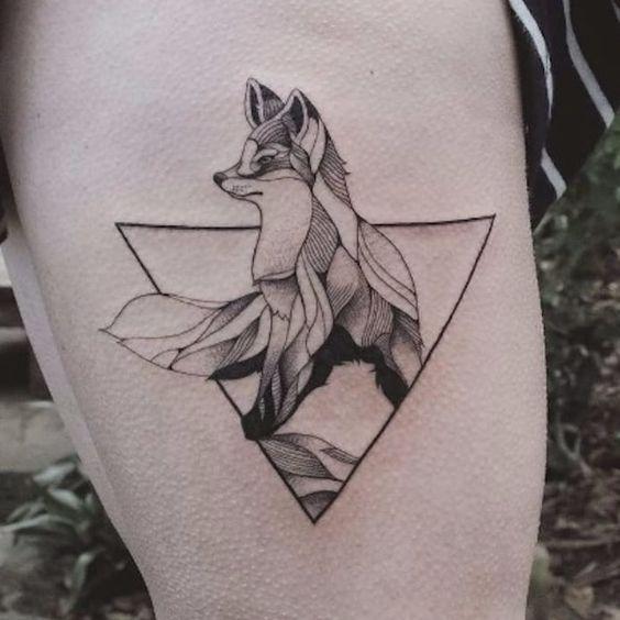 geometric fennec fox tattoo design