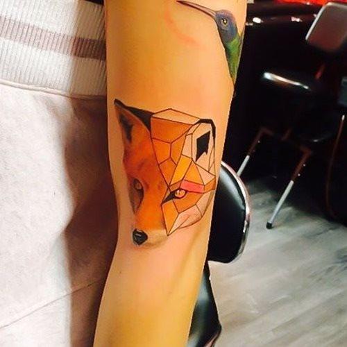 geometric half fox tattoo