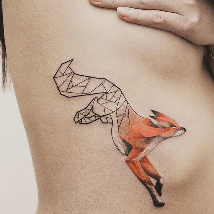 half geometric fox tattoo idea