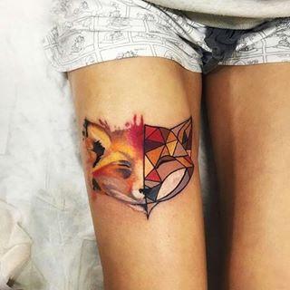 half geometric fox tattoo