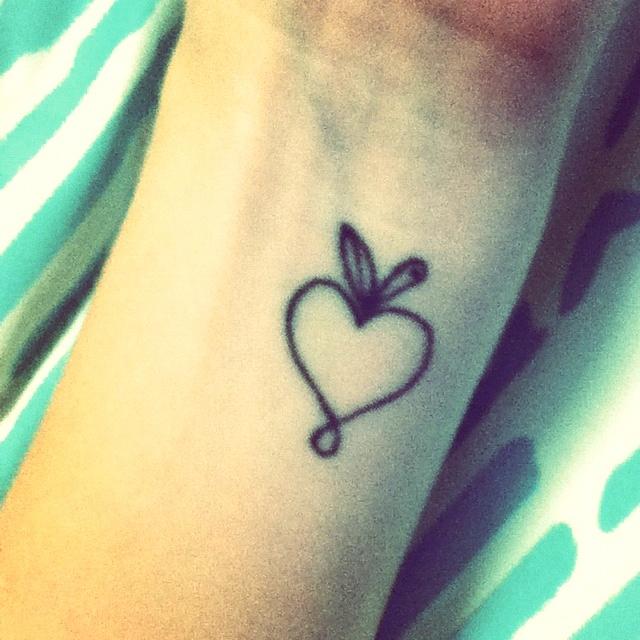 heart apple tattoo minimalistic