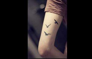 minimalist swallow tattoo on hand