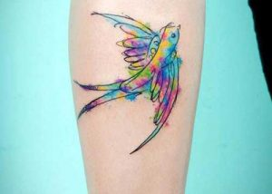 neo traditional swallow tattoo