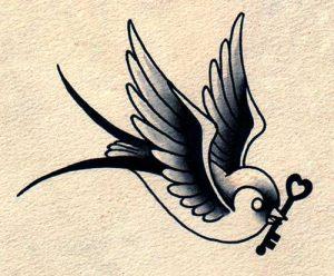 old school swallow tattoo flash