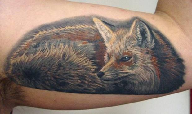 photorealistic fox tattoo