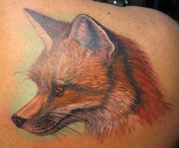 photorealistic red fox tattoo