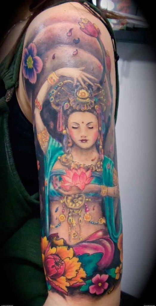 pink lotus flower tattoo arm