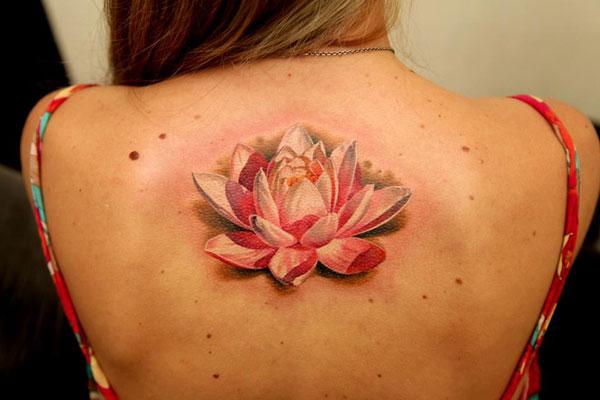 pink white lotus flower tattoo