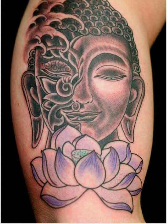 purple lotus flower tattoo arm