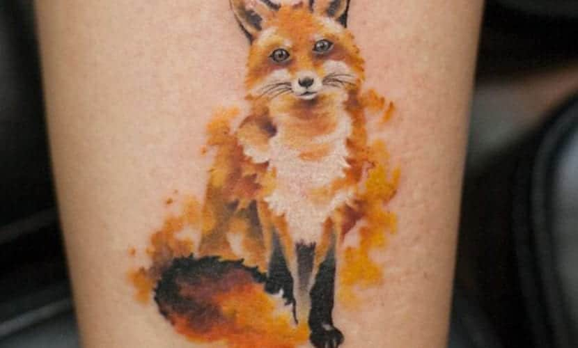 realistic watercolor fox tattoo