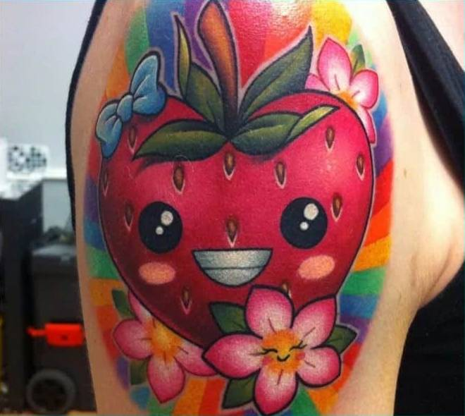 smiling Strawberries Tattoo
