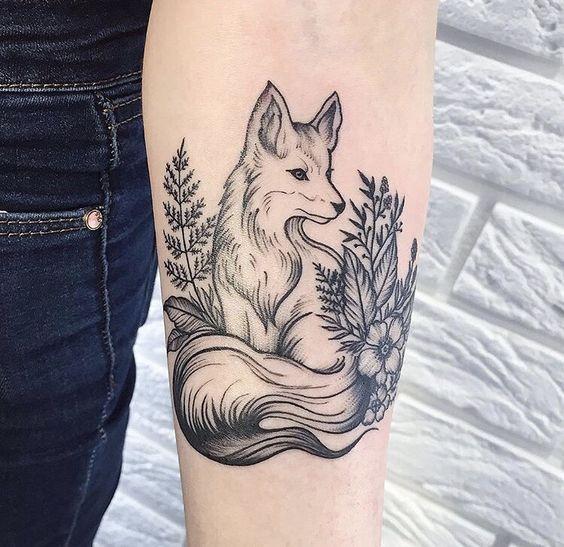 tailed arctic fox tattoo