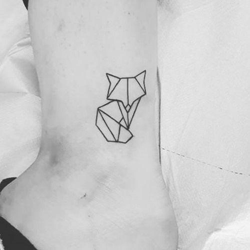 tiny geometric fox tattoo