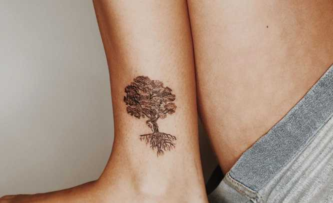 tree of life tattoo ankle