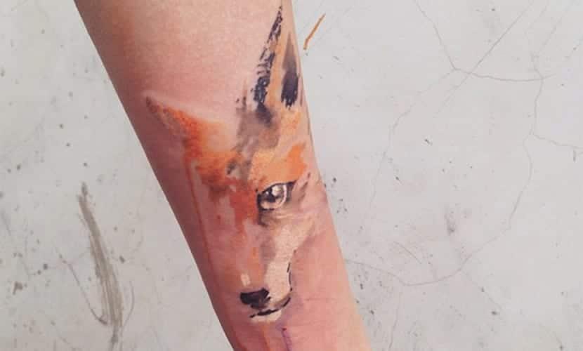 watercolor head fox tattoo