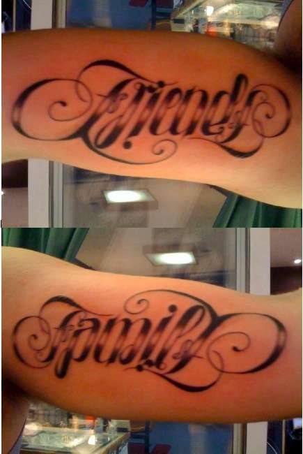 Friends Family ambigram tattoo