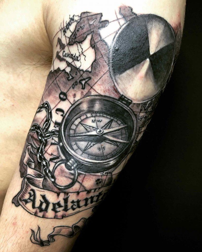 Nautical compass tattoo