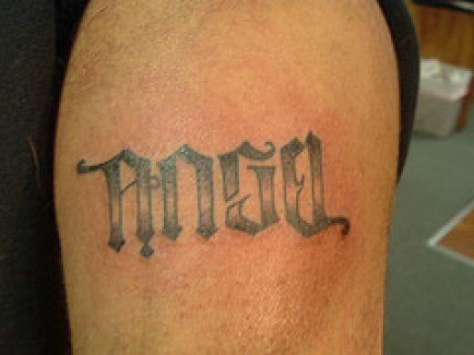 angel devil ambigram tattoo