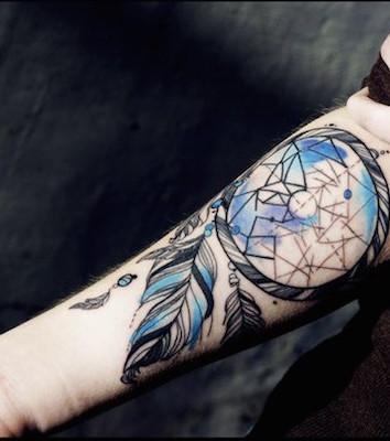colored dreamcatcher tattoo