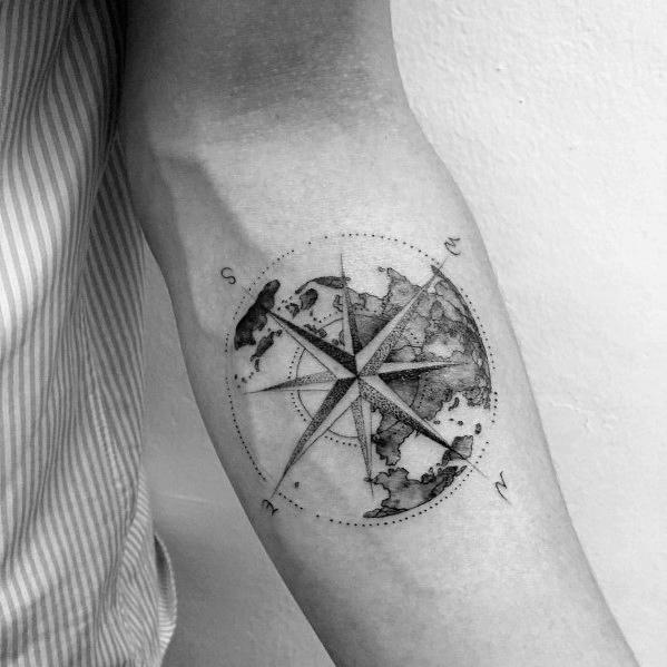 compass and coordinates tattoo