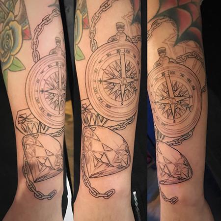 diamond and rose compass tattoo