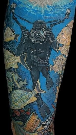 diving ocean tattoo