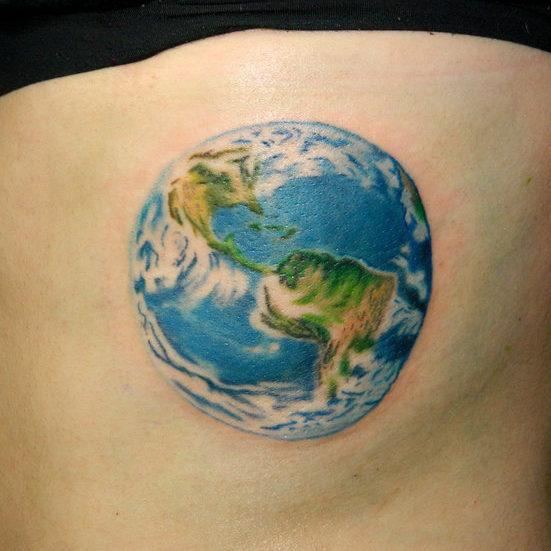 globe ocean tattoo