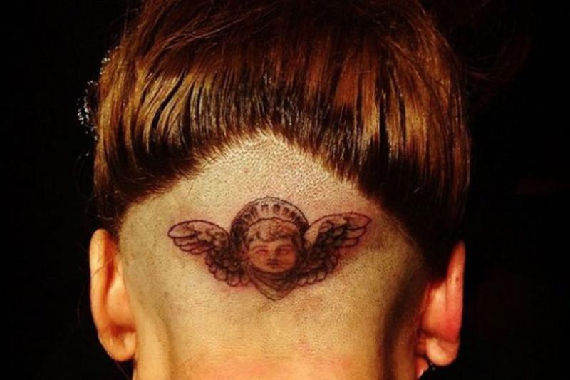 head cherub angel tattoo