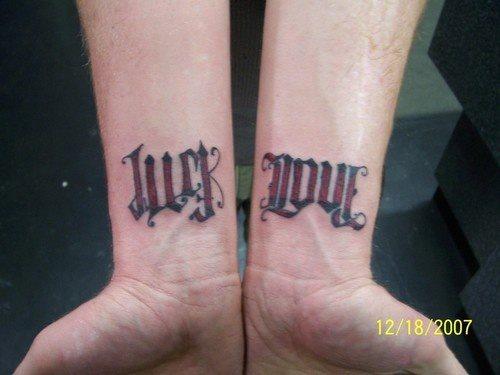 luck love ambigram tattoo