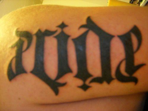 pride ambigram tattoo