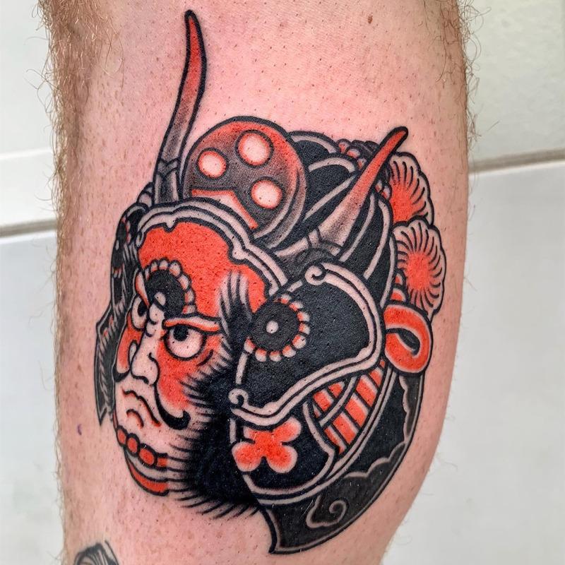 helmet samurai tattoo