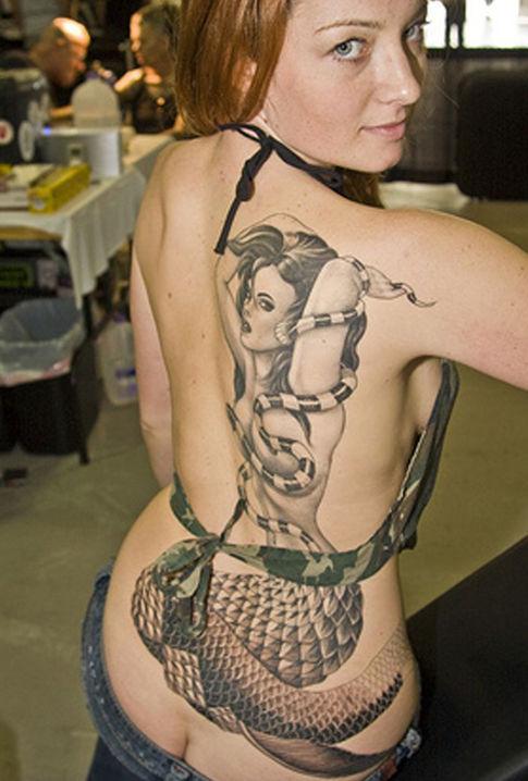 snake and mermaid tattoo