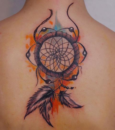 watercolor dreamcatcher tattoo