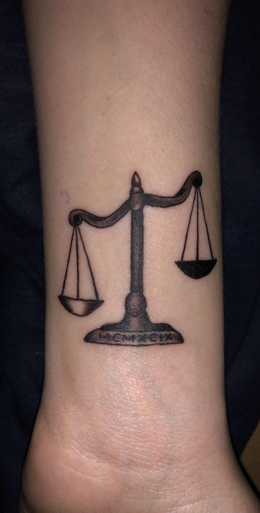 Libra scale tattoo