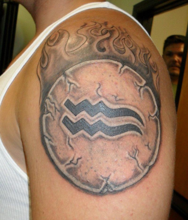 sleeve Aquarius sign tattoo